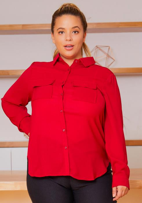 Asoph Plus Size Red Button Up Womens Collar Blouse