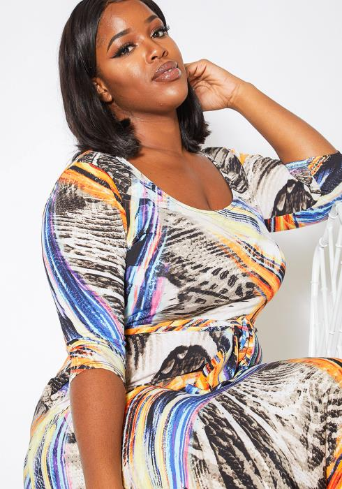 Asoph Curvy Womens Fine Arts Fit & Flare Maxi Dress