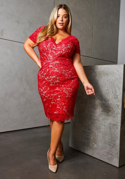 Asoph Plus Size Romantic Red Lace Women Dress