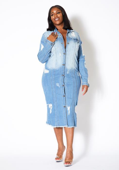 Asoph Plus Size Womens Distressed Light Wash Denim Midi Dress
