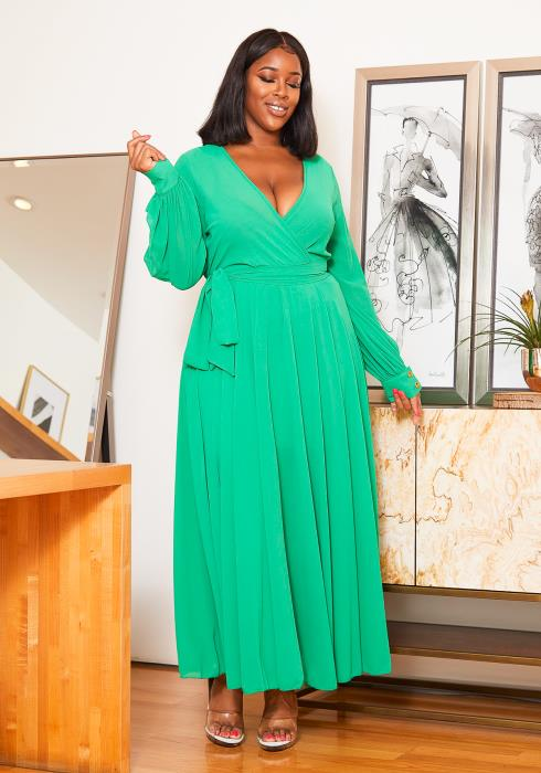 Asoph Plus Size Neon Vibes Chiffon Long Sleeve Women Maxi Dress
