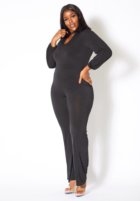 Asoph Plus Size Formal Long Sleeve Womens Keyhole Jumpsuit
