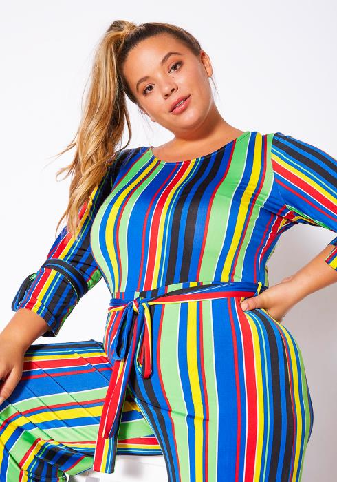 Asoph Curvy Womens Over The Rainbow Striped Jumpsuit