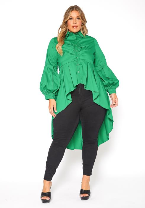 Asoph Plus Size High to Low Vintage Womens Collar Blouse