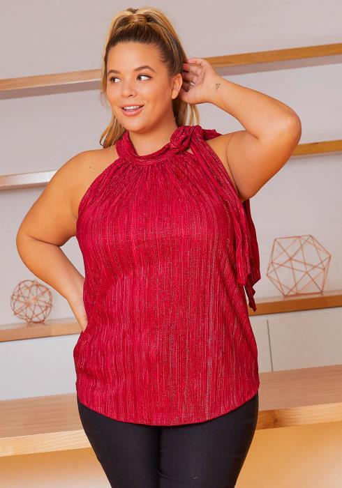 Asoph Plus Size Romantic Sparkle Halter Neck Womens Blouse