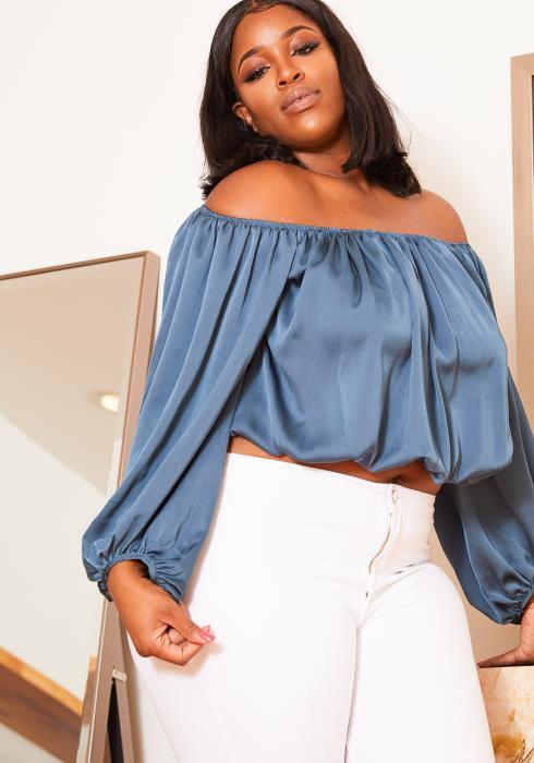 Asoph Plus Size Womens Dusty Blue Off Shoulder Satin Blouse