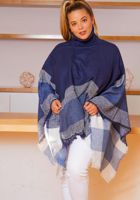 Asoph Plus Size Plaid Turtleneck Womens Poncho Sweater