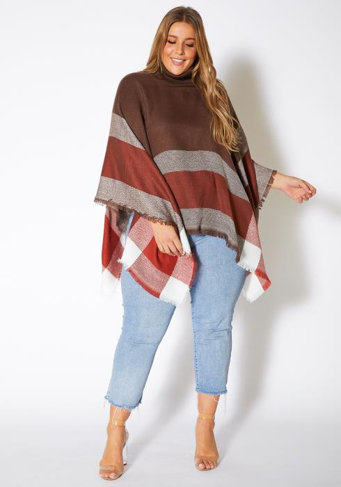 Asoph Plus Size Plaid Turtleneck Womens Poncho Sweater