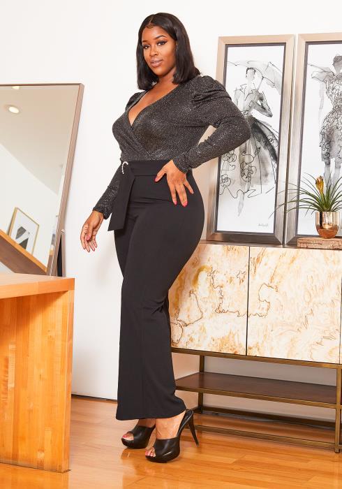 Asoph Curvy Womens Luminous Shimmer Contrast Jumpsuit