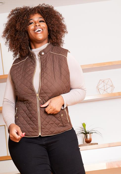 Asoph Curvy Women Quilted Zip Up Cozy Vest