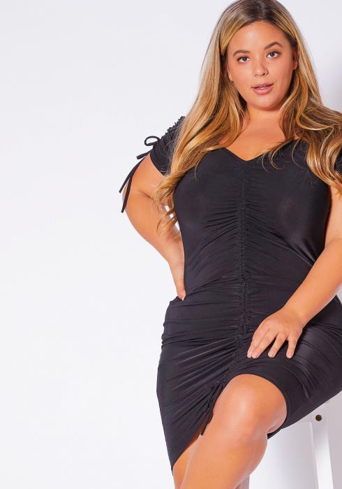 Asoph Curvy Womens Front Drawstring Ruched Mini Dress