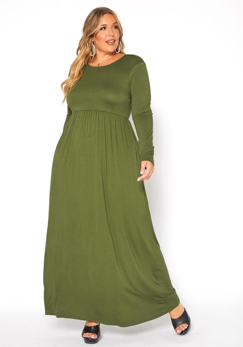 Asoph Plus Size Long Sleeve Womens Fit & Flare Maxi Dress