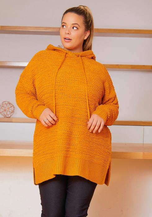 Asoph Plus Size Popcorn Knitted Womens Oversized Hooded Sweater