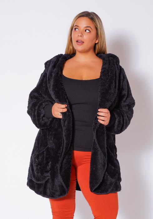 Asoph Plus Size Womens Faux Fur Open Front Hooded Coat