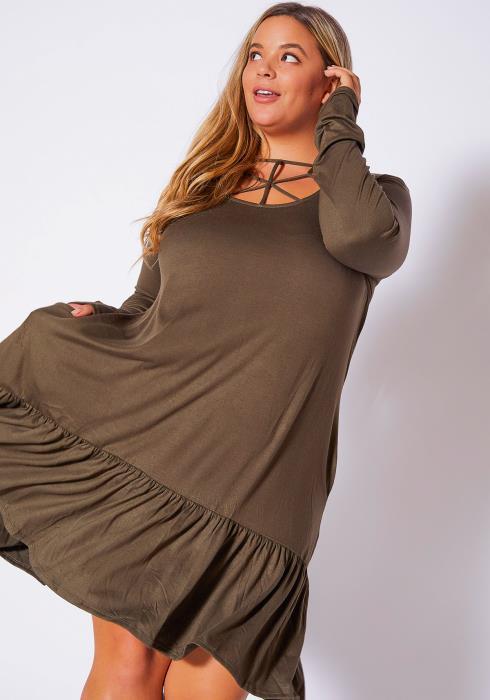 Asoph Plus Size Strappy Springline Womens Ruffle End Dress