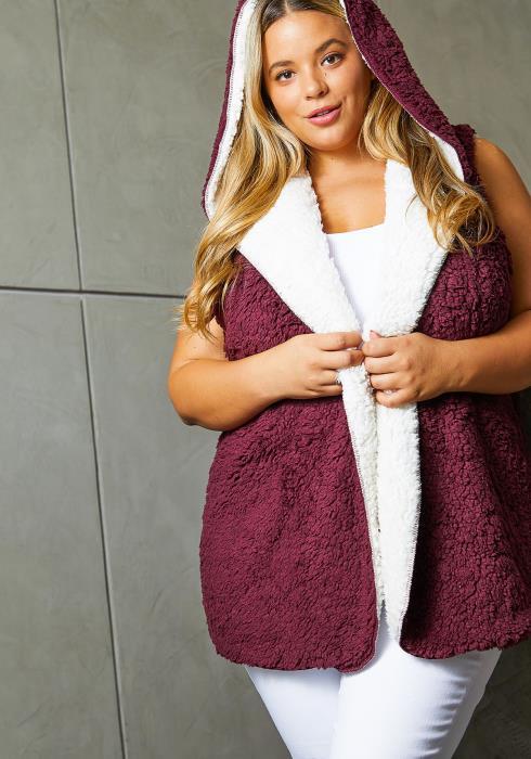 Asoph Plus Size Womens Double Sherpa Hoodie Vest
