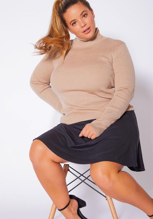 Asoph Plus Size Ribbed Turtleneck Long Sleeve Womens Top