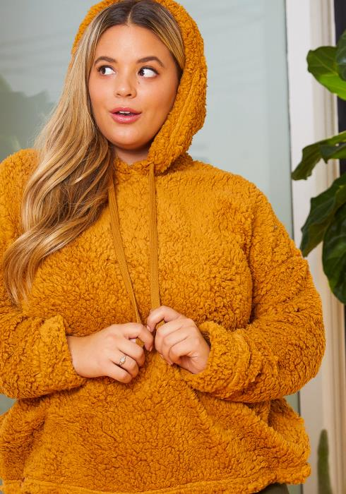 Asoph Plus Size Cozy Vibes Womens Teddy Hoodie Sweater