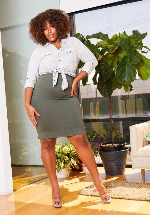 Asoph Plus Size High Waisted Womens Ruffle End Pencil Skirt