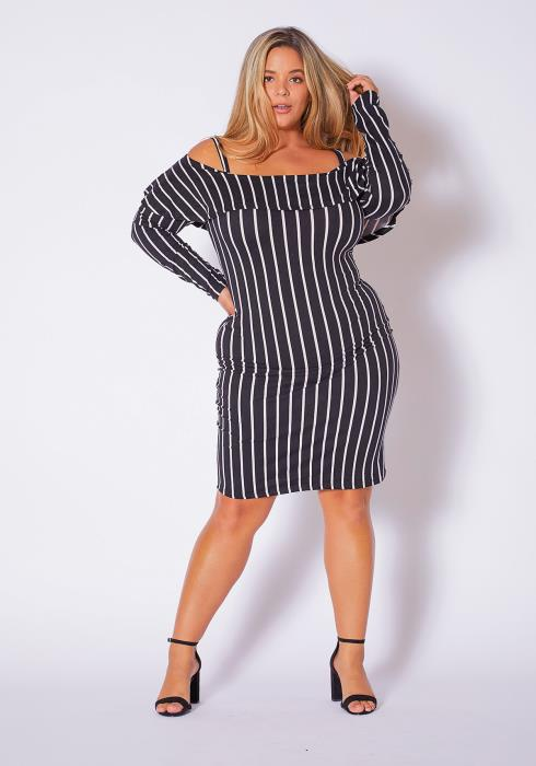 Asoph Plus Size Strappy Off Shoulder Womens Striped Dress