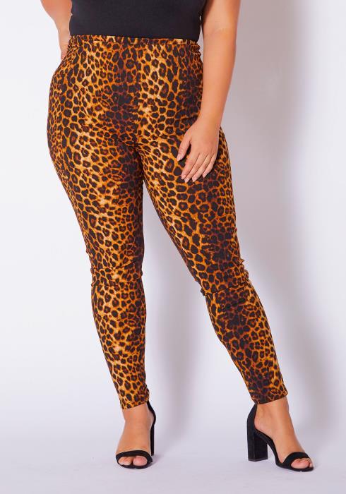 Asoph Curvy Womens Savage Leopard Leggings