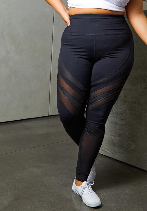 Asoph Curvy Womens Racer Mesh High Waist Leggings