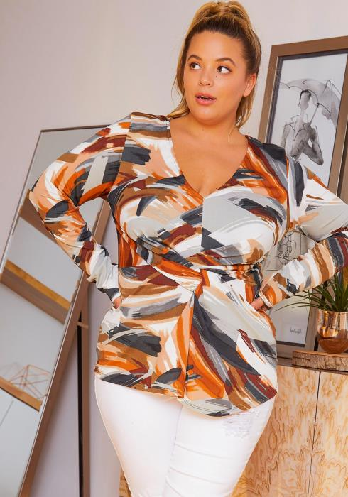 Asoph Plus Size Fall Season Stroke Art Women Blouse