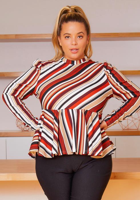 Asoph Plus Size Fall Season Striped Mock Neck Women Blouse