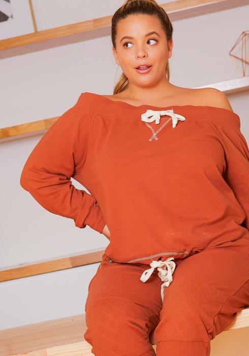 Asoph Plus Size Comfy Drawstring Womens Off Shoulder Sweater