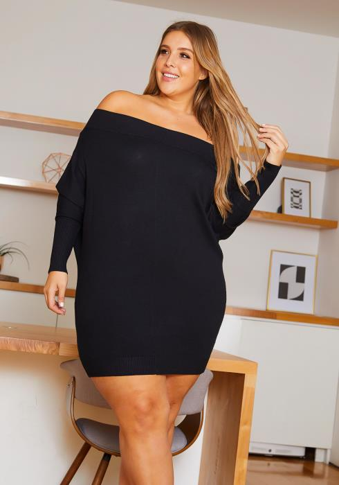Asoph Curvy Womens Off Shoulder Knit Mini Dress
