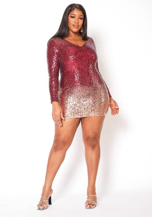 Asoph Plus Size Birthday Sequin Long Sleeve Bodycon Mini Dress