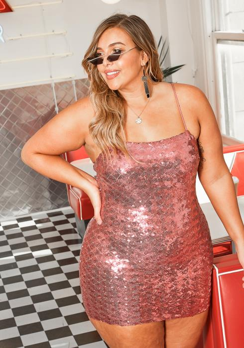 Asoph Plus Size Pink Sequin Cami Bodycon Mini Dress