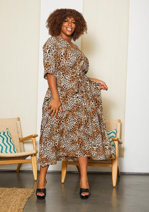 Asoph Plus Size Leopard Batwing Midi Dress