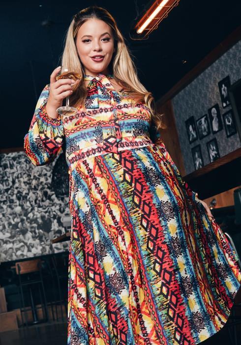 Asoph Plus Size Blissful Art Patterned Fit & Flare Womens Midi Dress