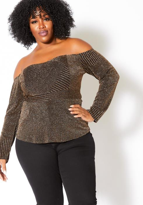 Asoph Plus Size Glitter Peplum Off Shoulder Top