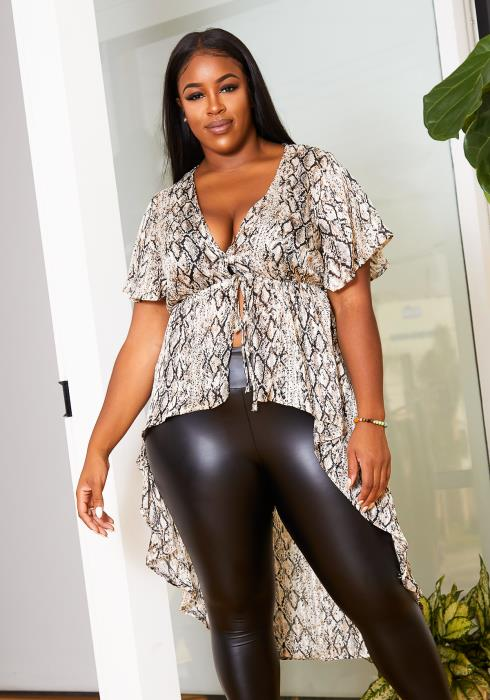Asoph Plus Size Metallic Touched Snakeskin Womens High to Low Blouse