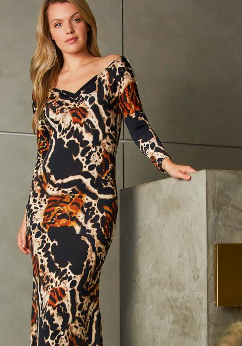 Tansy Womens Abstract Animal Print Off The Shoulder Maxi Dress