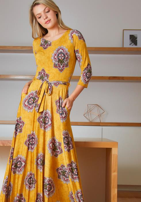 Tansy Golden Lotus Flower Patterned Women Maxi Dress