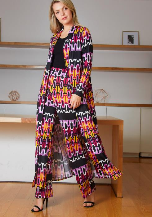 Tansy Womens 70s Funk Print Straight Pants and Long Cardigan Set