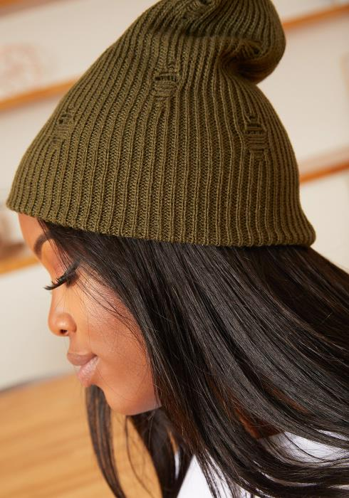 Asoph Distressed Knit Olive Beanie