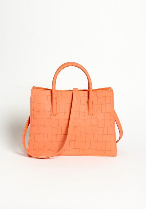 Asoph Coral Crocodile Pleather Handbag
