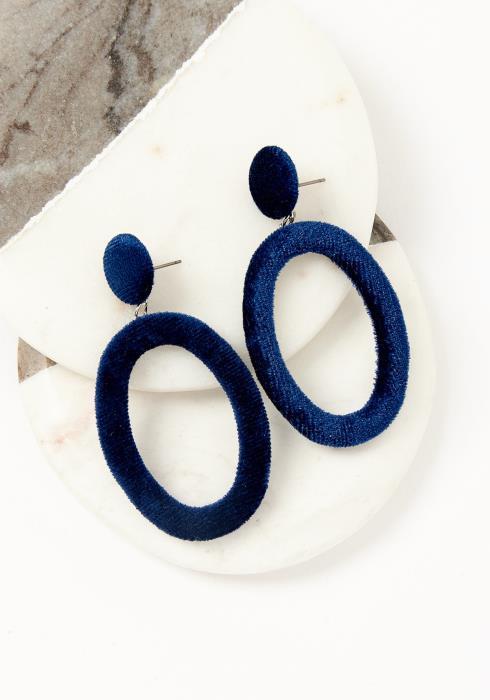 Asoph Paris Navy Velvet Oval Earrings
