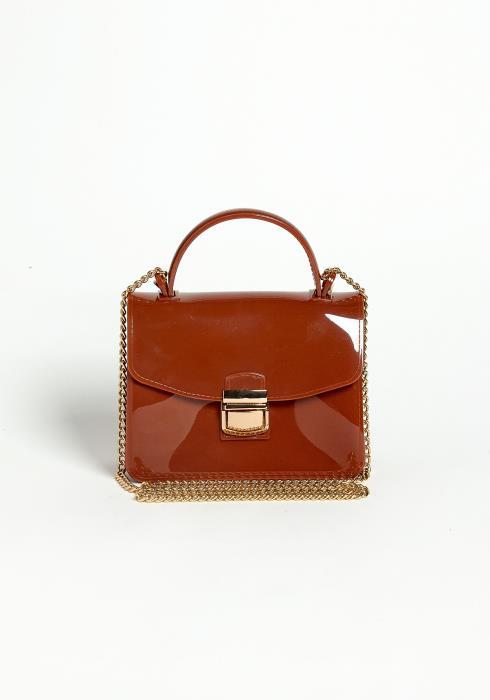 Asoph Glossy Mahogany Mini Handbag
