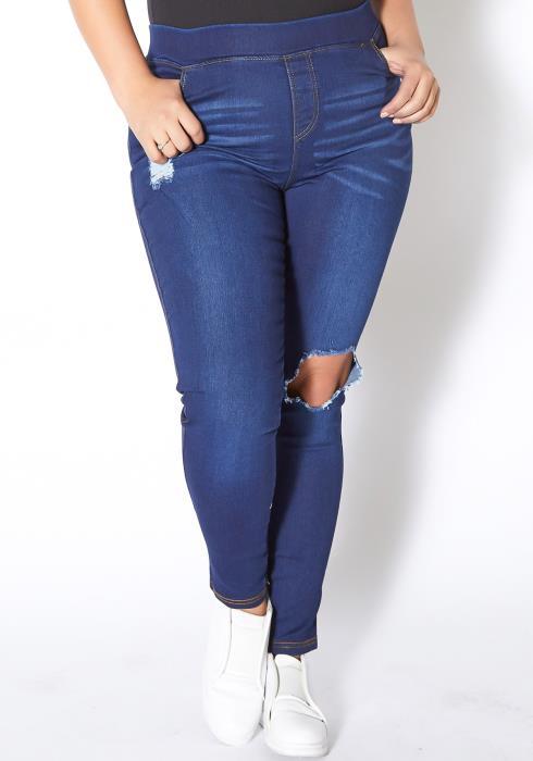 Asoph Plus Size Knee Ripped Skinny Jeggings