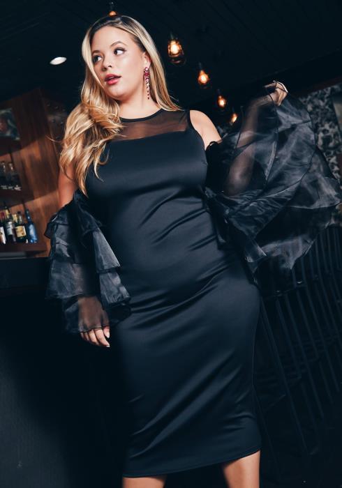 Asoph Plus Size Tier Mesh Ruffled Cold Shoulder Womens Midi Dress