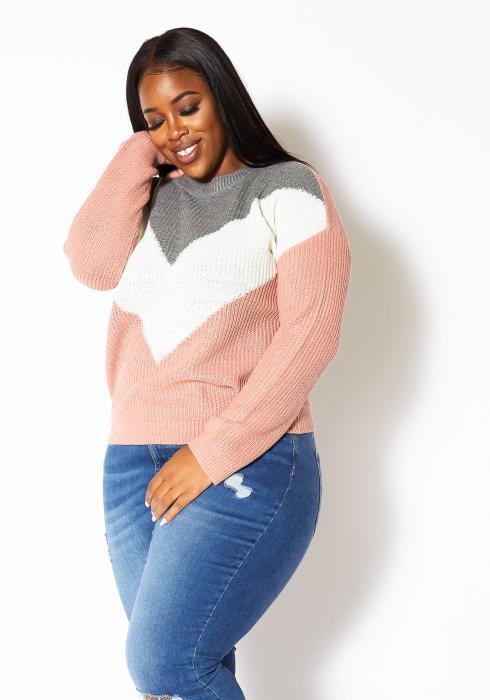 Asoph Plus Size Chevron Print Crewneck Sweater