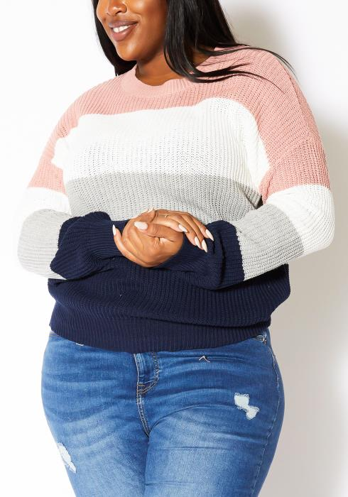Asoph Plus Size Cozy Color Contrast Sweater