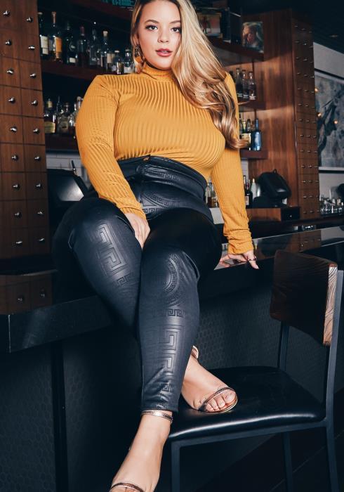 Asoph Curvy Womens Greek Key Printed High Waist Skinny Pants