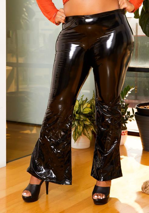 Asoph Plus Size Womens Liquid Pleather Flare Pants