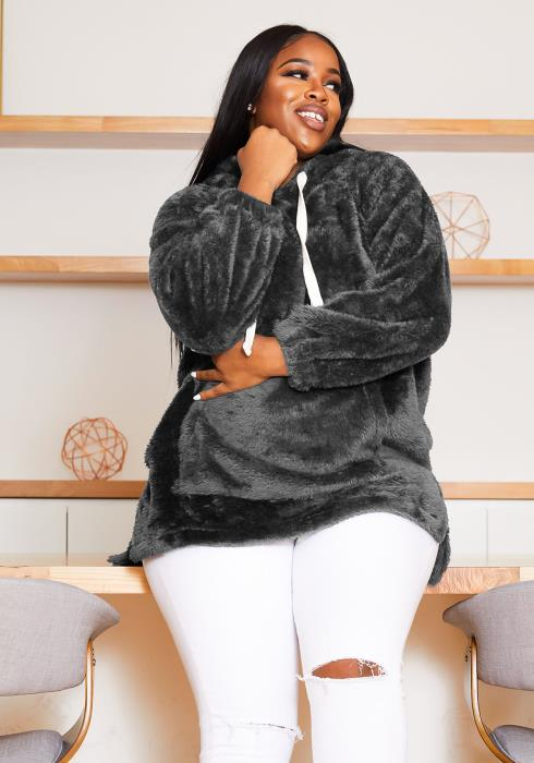 Asoph Plus Size Faux Teddy Womens Oversized Hoodie Sweater